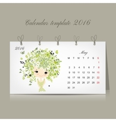 Calendar 2016 may month season girls design vector