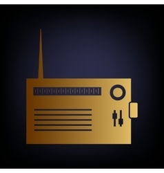 Radio sign golden style icon vector