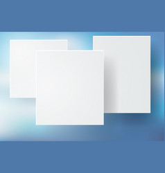 Abstract blue bokeh background with white square vector