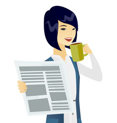 Asian woman drinking coffee and reading newspaper vector