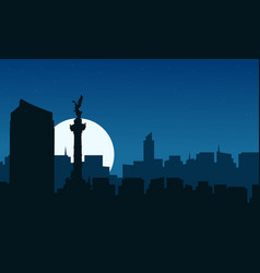 At night mexico city scenery silhouettes vector