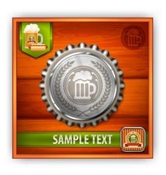 Bottle cap with beer mug vector image vector image