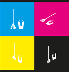 Broom and bucket sign white icon with vector