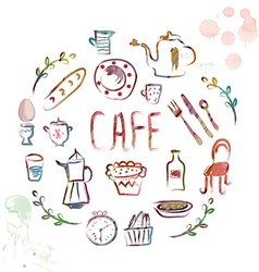 Cafe design elements - watercolor vector image