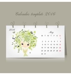 Calendar 2016 may month season girls design vector