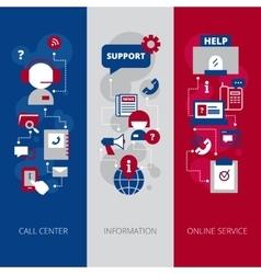 Call center flat vertical banners set vector