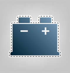 Car battery sign blue icon with outline vector