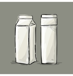 Cardboard milk package sketch for your design vector