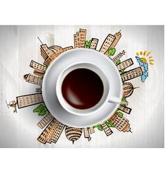 Coffee cup concept - city doodles with cofee mug vector