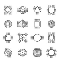 Computer chip icons electronic circuit and vector