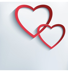 Conceptual background with paper 3d hearts vector image