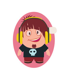 Cool and funny smiling geek avatar little person vector