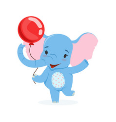 cute baby elephant having fun with red balloon vector image