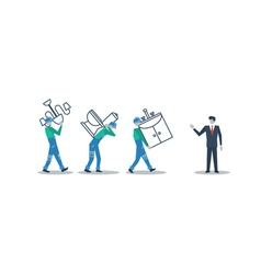 Delivery workers and manager move in concept vector