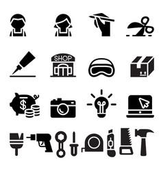 Diy workshop craftsman craft icon set vector