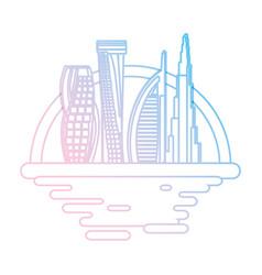 dubai cityscape cartoon neon lines vector image