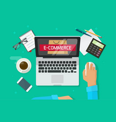 e-commerce store on laptop person working on vector image vector image