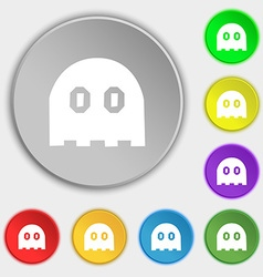 Ghost icon sign symbol on eight flat buttons vector