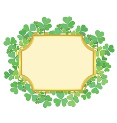 gold frame with green shamrock vector image vector image