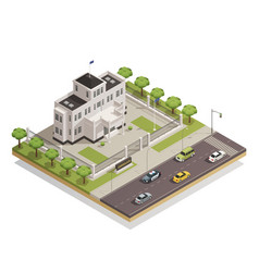 government building area isometric composition vector image vector image