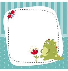 Greeting card with cartoon dinosaur vector