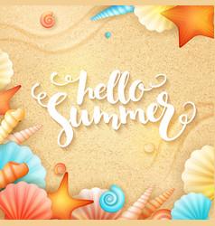 Hand lettering summer text - hello summer - vector