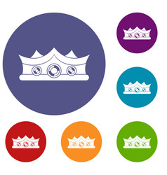 King crown icons set vector