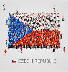 Large group of people in the shape of czech flag vector