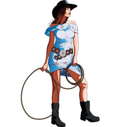 long-legged girl cowboy vector image