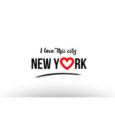 New york city name love heart visit tourism logo vector