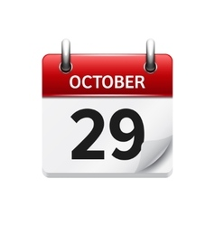 October 29 flat daily calendar icon date vector
