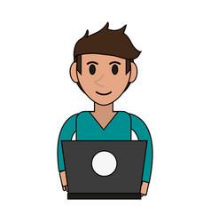person desk flat vector image