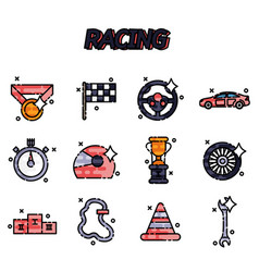Racing flat concept icons vector