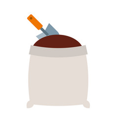 Sand bag with shovel isolated icon vector