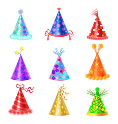 Set of different festive caps in cartoon style vector