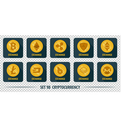 Set of icons of different exchange cryptocurrency vector