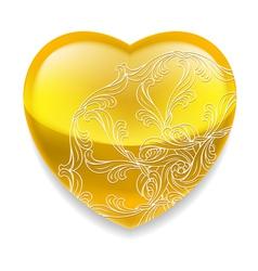 Shiny yellow heart with decor vector