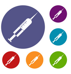 Syringe with needle icons set vector