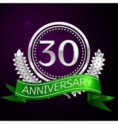 Thirty years anniversary celebration with silver vector