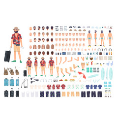tourist creation set or diy kit collection of vector image
