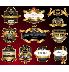 Vintage gold black labels vector image