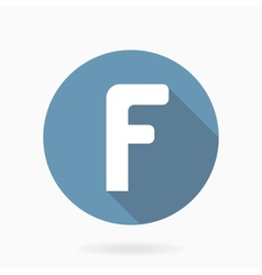 White letter F Icon With Flat Design vector image