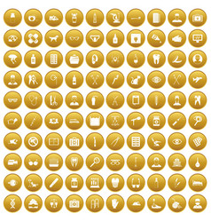 100 care icons set gold vector