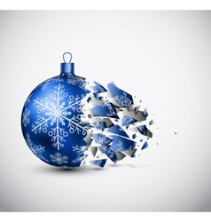 Broken blue Christmas ball vector image