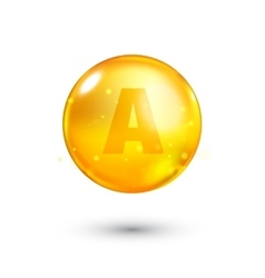 Vitamin a glitter gold icon vector