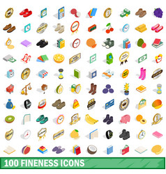 100 fineness icons set isometric 3d style vector