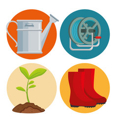 Gardening equipment set flat icons vector