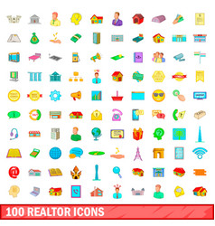 100 realtor icons set cartoon style vector