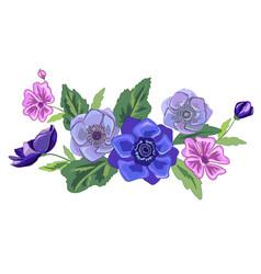 Set of vintage floral bouquet of garden flowers vector