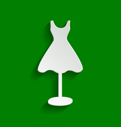 Mannequin with dress sign  paper whitish vector